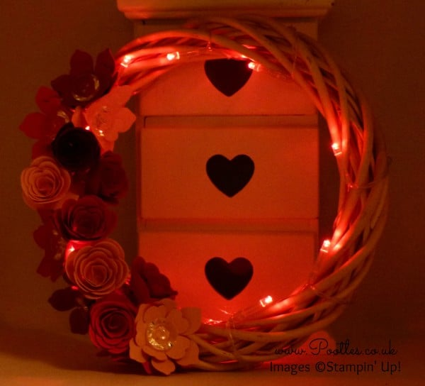 Stampin' Up! UK Demonstrator Pootles - Spring Valentine's Wreath using Spiral Flower BigZ Die Night View