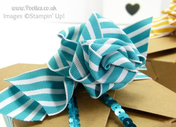 Stampin' Up! UK Independent Demonstrator Pootles - Ribbon Bow Take Out Box Tutorial Rose
