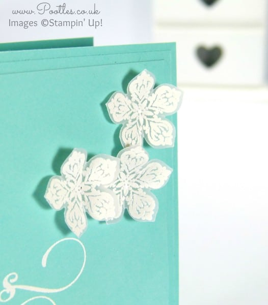 Stampin' Up! Demonstrator Pootles - White Heat Embossing on Vellum Flower detail