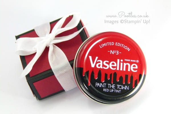 Pootles' Vaseline Gift Box Tutorial using Stampin' Up! Colours Cherry Cobbler