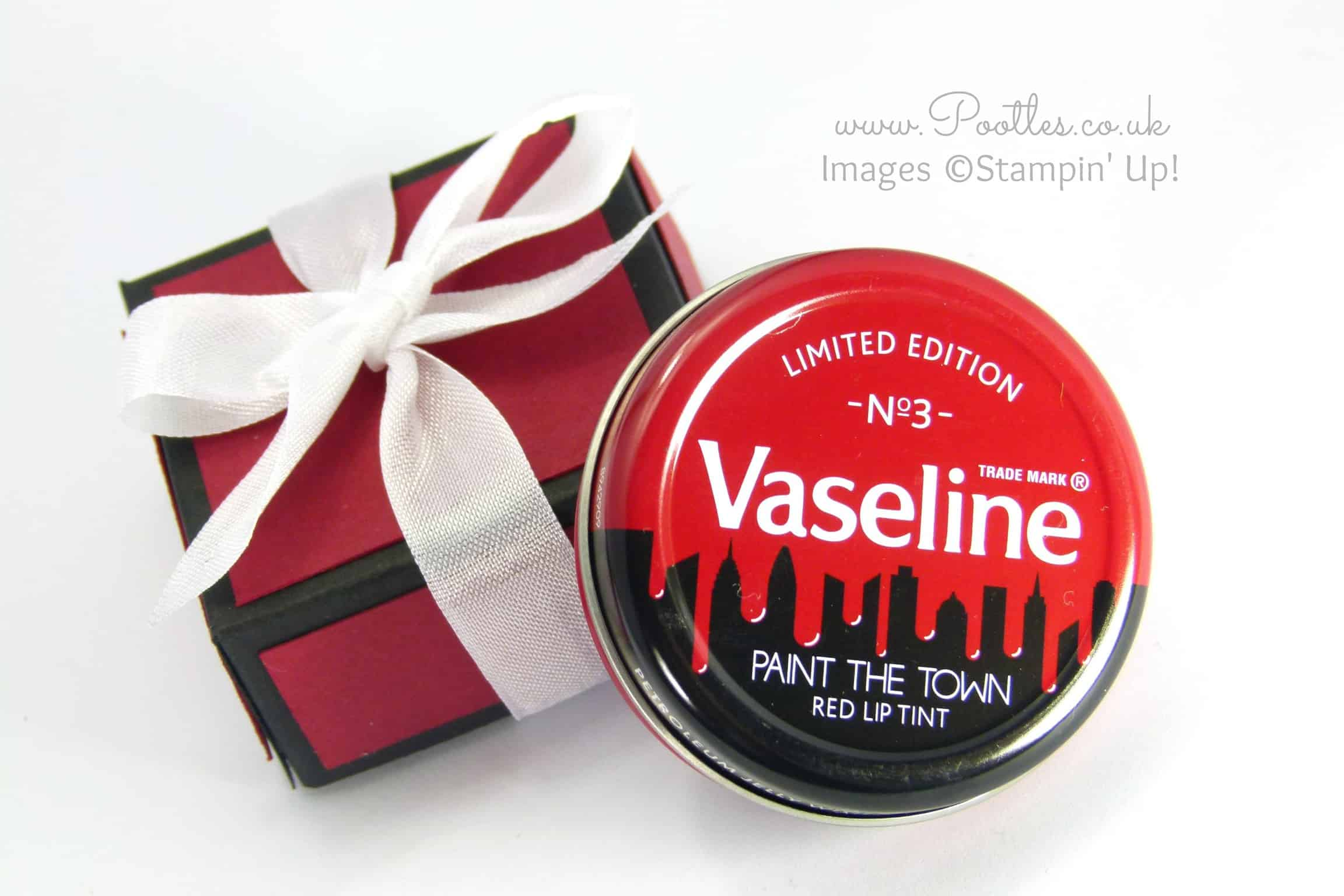 Vaseline Gift Box Tutorial using Stampin' Up! Colours Cherry Cobbler