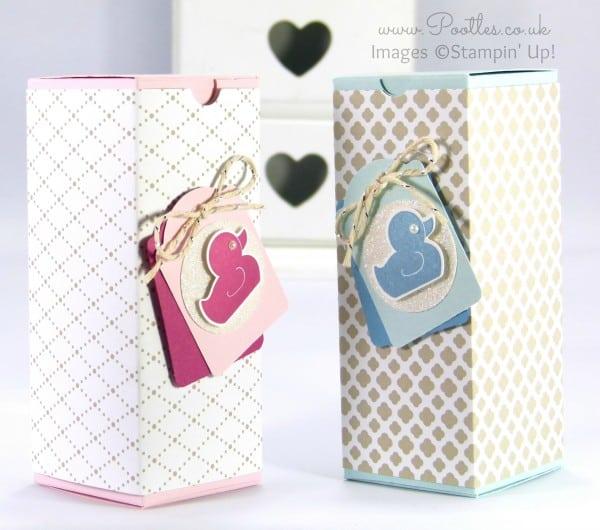 Stampin' Up! UK Demonstrator Pootles - Fold Flat Baby Bib Box Tutorial