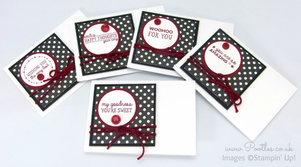 Stampin' Up! Demonstrator Pootles - Notecard set using All Boxed Up stamp set Full Set