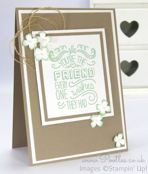 Stampin' Up! Pootles - Friendly Wishes with Tip Top Taupe and Mint Macaron