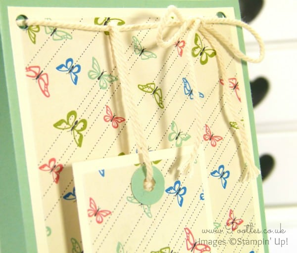 Stampin' Up! UK Demonstrator Pootles - Pretty Petals Gift Bag Box Tutorial Tag Detail