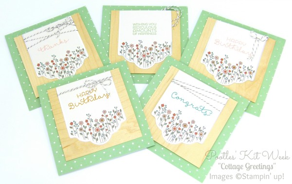Pootles Kit Week #5 - Cottage Greetings Card Kit The Green Ones