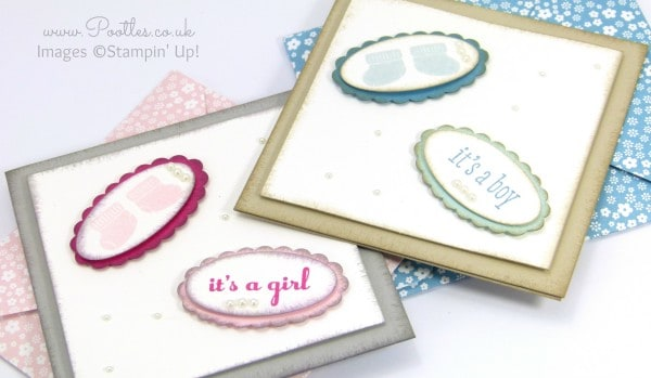 South Hill Designs & Stampin' Up! Sunday Baby Cards Tutorial Detailed