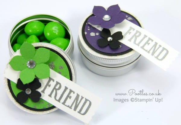 Stampin' Up! Demonstrator Pootles - Rainbow Coloured Skittles Sweetie Tins Tutorial Green and Purple