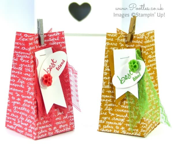 Stampin' Up Demonstrator Pootles - Scripted Square Bag Tutorial using Stampin' Up! DSP