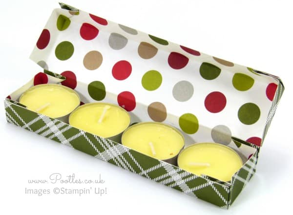 Stampin' Up! Demonstrator Pootles - Summer Camping Candle Box Tutorial using Christmas Paper Open