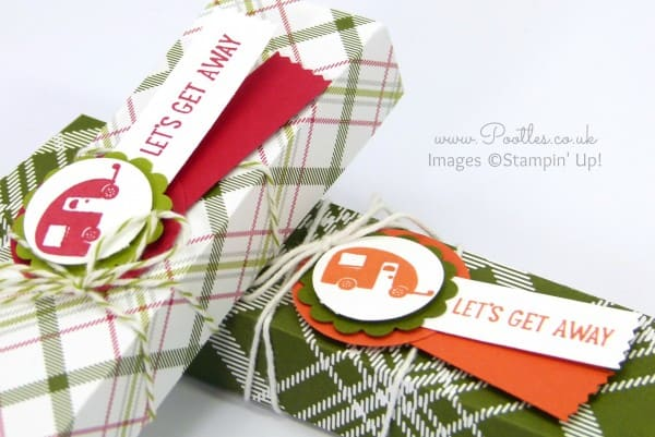 Stampin' Up! Demonstrator Pootles - Summer Camping Candle Box Tutorial using Christmas Paper Stamping Detail