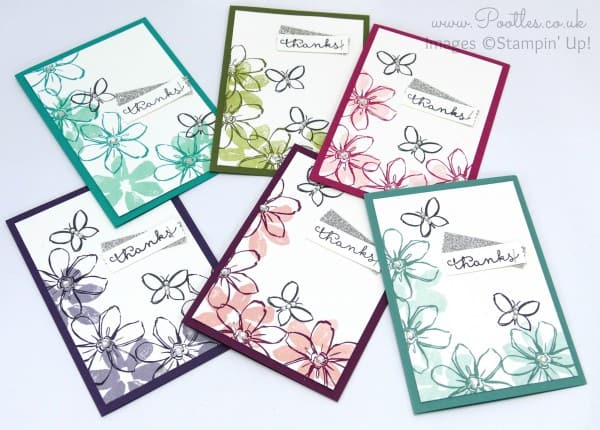 Stampin' Up! UK Demonstrator Pootles -  July Thank You Cards All Colours