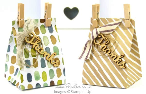 Stampin' up! Demonstrator Pootles - Watercolour Wash Wooden Tagged Bags Tutorial