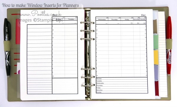Stampin' Up! Demonstrator Pootles - Diary Planner Insert Window Tutorial using Project Life Open