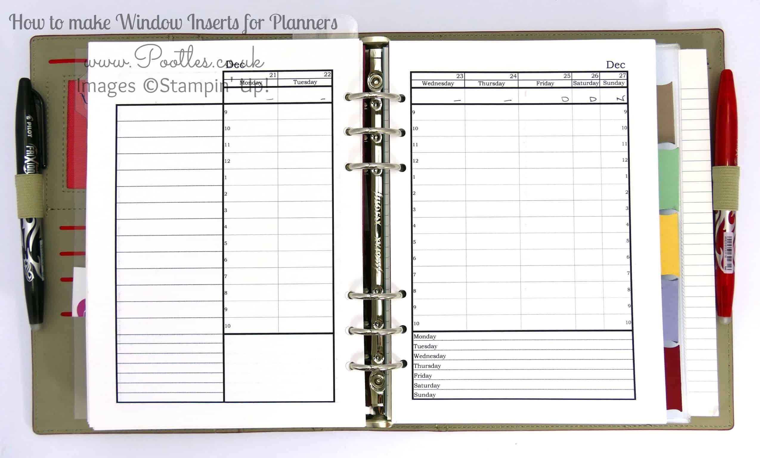 Stampin' Up! Demonstrator Pootles - Diary Planner Insert ...