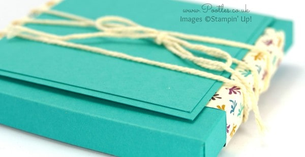 Stampin' Up! Demonstrator Pootles - Slender Box Tutorial for 4x4 Cards using Bohemian DSP Close up of Layers