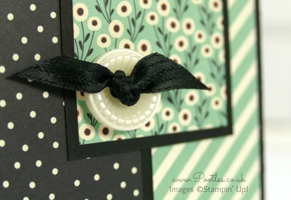 Stampin' Up! UK Demonstrator Pootles - Pretty Petals Layered Card Button Detail