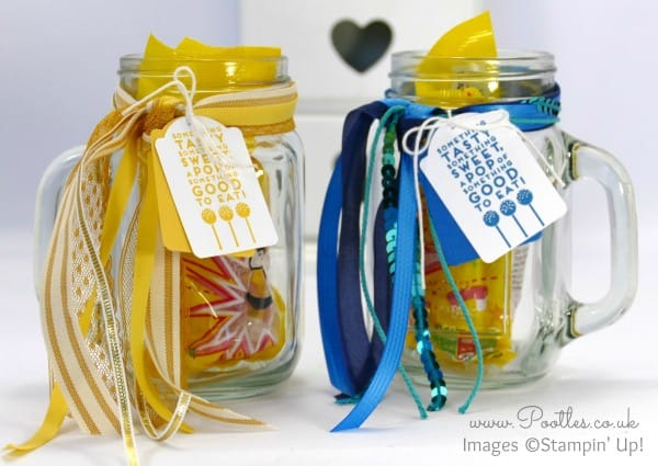 Stampin' Up! Demonstrator Pootles - Quick Decorated Drinking Jars using Stampin' Up! Ribbons