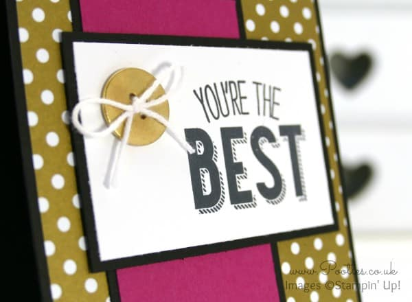 Stampin' Up! UK Demonstrator Pootles - Friendly Wishes and Gold Designer Paper.... Close Up