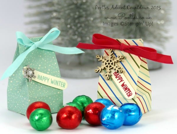 Pootles Advent Countdown #14 Mini Box for Chocolate Balls Tutorial Pair of Boxes