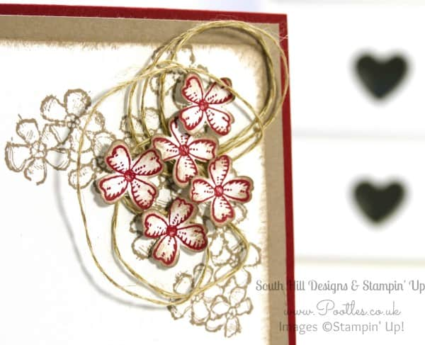 South Hill Designs & Stampin Up Sunday Soft Flowers & Red Accents Close Up