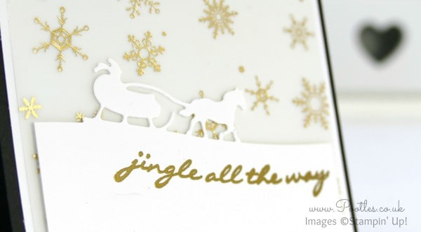Stampin' Up! Demo Pootles - Jingle All The Way with Sleigh Ride Edgelits & Winter Wonderland Heat Embossing detail