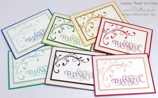 Stampin' Up! Demonstrator Pootles - A mixed array of Customer Thank You Cards All Colours