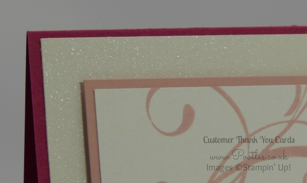 Stampin' Up! Demonstrator Pootles - A mixed array of Customer Thank You Cards Shimmery White Cardstock Detail