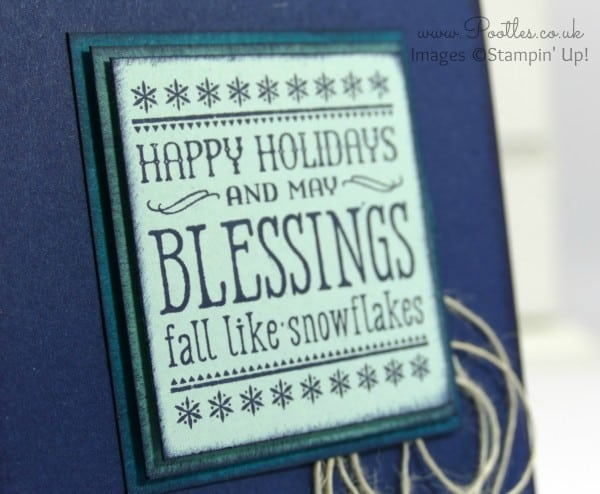 Stampin' Up! Demonstrator Pootles - Happy Holidays with Six Sayings and lots of Blues! Close Up