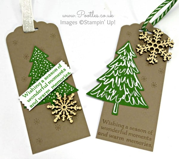 Stampin' Up! Demonstrator Pootles - Perfect Peaceful Pines - Christmas Tags
