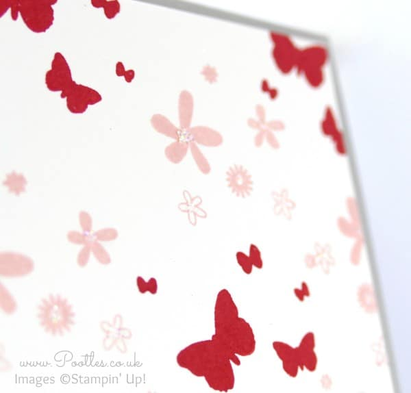 Stampin' Up! Demonstrator Pootles - Perpetual Birthday in Real Red and Blushing Bride Glitter Detail