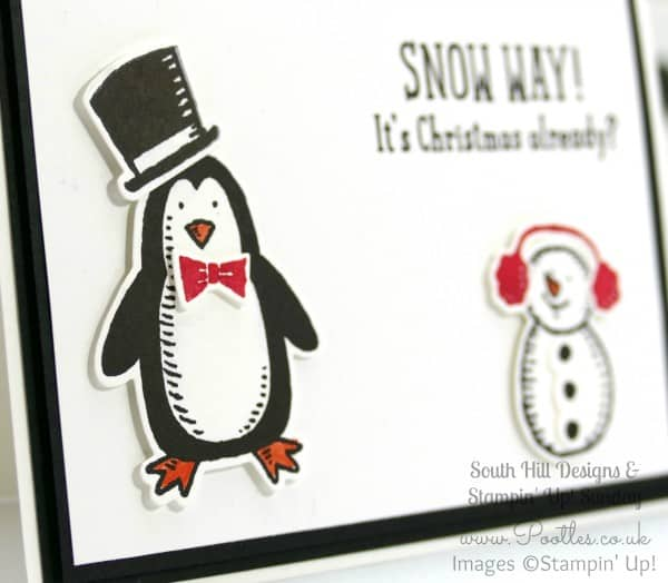 South Hill Designs & Stampin' Up! Sunday Penguins & Snowmen Card & Locket Close Up