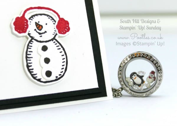 South Hill Designs & Stampin' Up! Sunday Penguins & Snowmen Card & Locket Snowman