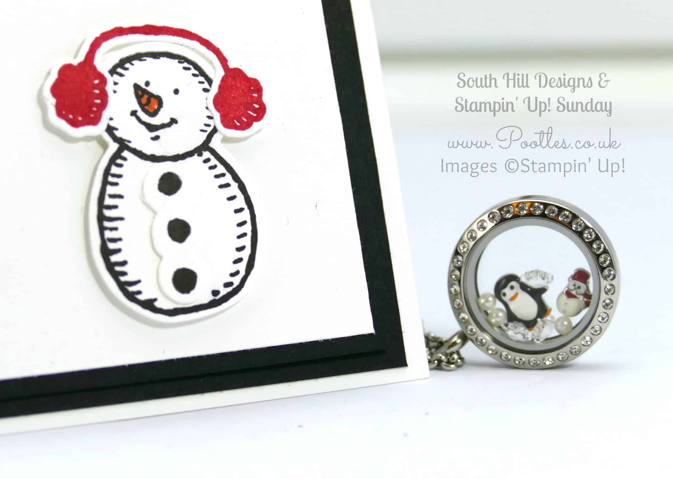South Hill Designs & Stampin' Up! Sunday Penguins & Snowmen Card & Locket