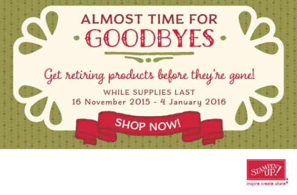 Stampin' Up! Pootles Autumn Winter Retiring List - While Stocks Last