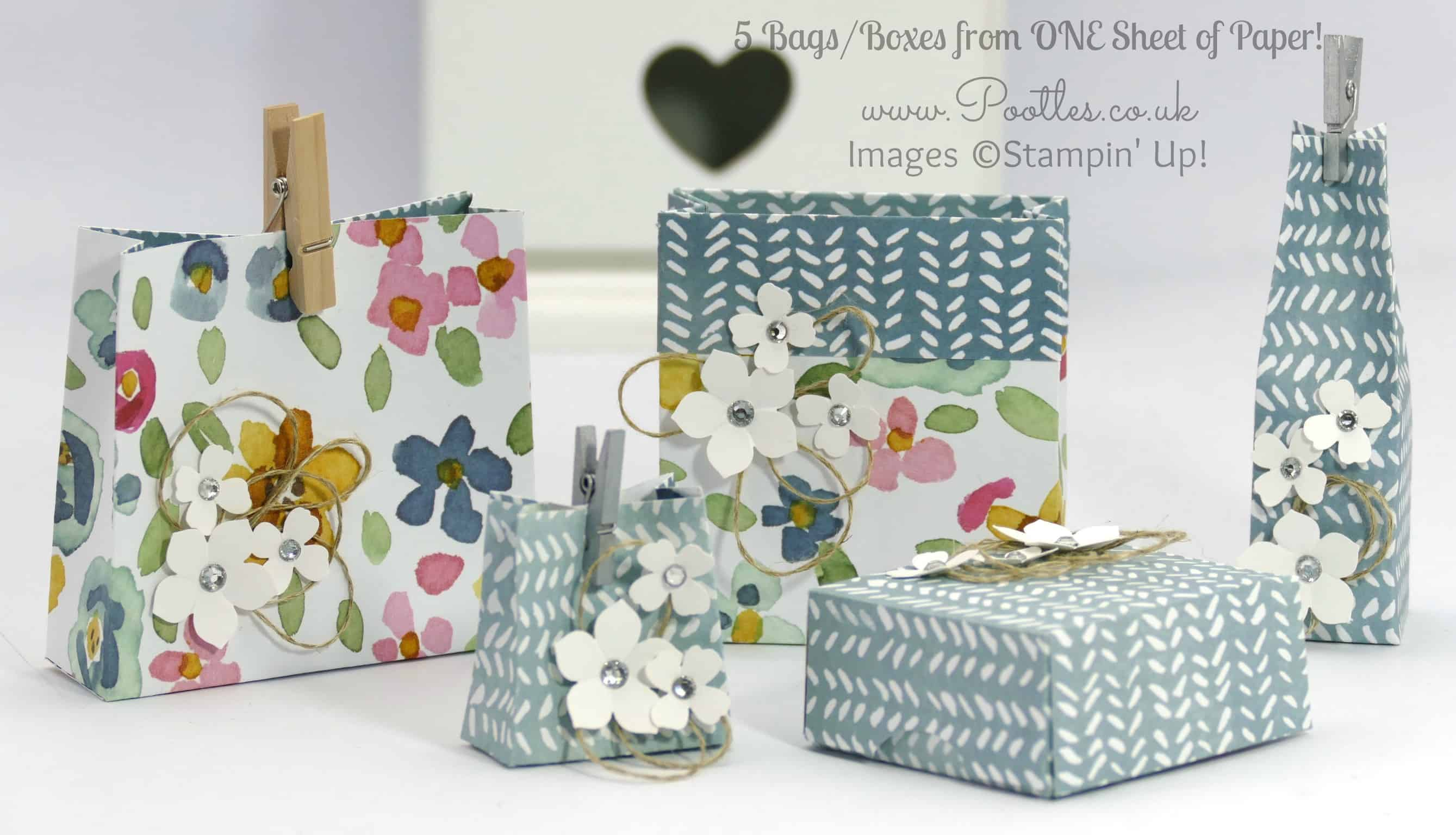 5 Bags Boxes from 1 Sheet of Stampin' Up! DSP + 12 Deals of Christmas