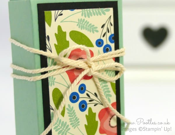 Stampin' Up! Demonstrator Pootles - Fold Over Box using Stampin' Up! Pretty Petals DSP Twine Bow