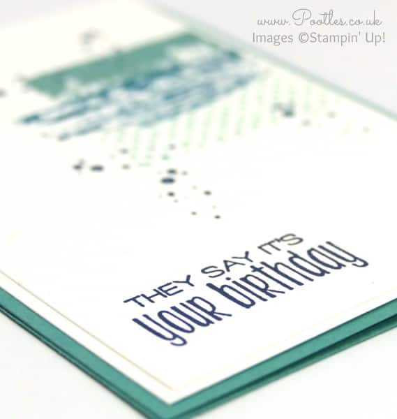 Stampin' Up! Demonstrator Pootles - Manly Birthday Card with Timeless Textures Side Profile