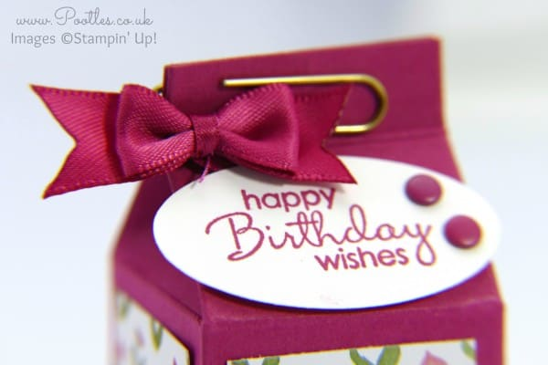 Stampin' Up! Demonstrator Pootles - Rose Red Mini Milk Carton Tutorial Close UP
