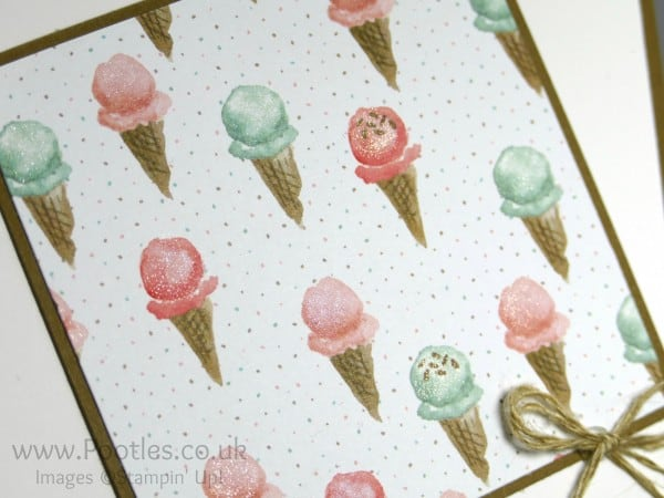 Stampin' Up! Demonstrator Pootles - Ice Cream Yummies with a Wink of Stella! Close up detail