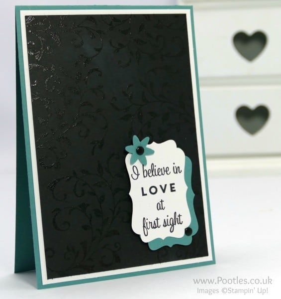 Stampin' Up! Demonstrator Pootles - Pretty Embossed First Sight Card. Black on Black