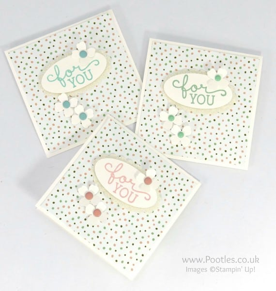 Stampin' Up! Demonstrator Pootles - Darling Little Birthday Bouquet 3x3 Cards all 3