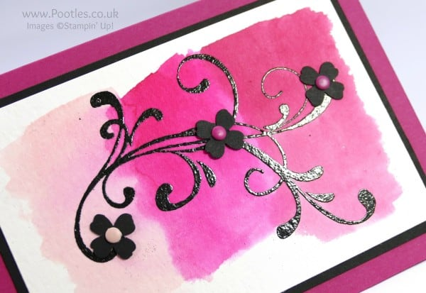 Stampin' Up! Demonstrator Pootles - Everything Eleanor, Pinks and Watercolour Paper Heat Embossing Detail