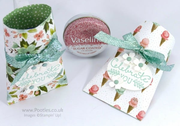 Stampin' Up! Demonstrator Pootles - Pretty Vaseline Lip Treat Pouch Tutorial Overhead