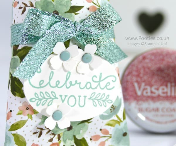 Stampin' Up! Demonstrator Pootles - Pretty Vaseline Lip Treat Pouch Tutorial Stamped Detail