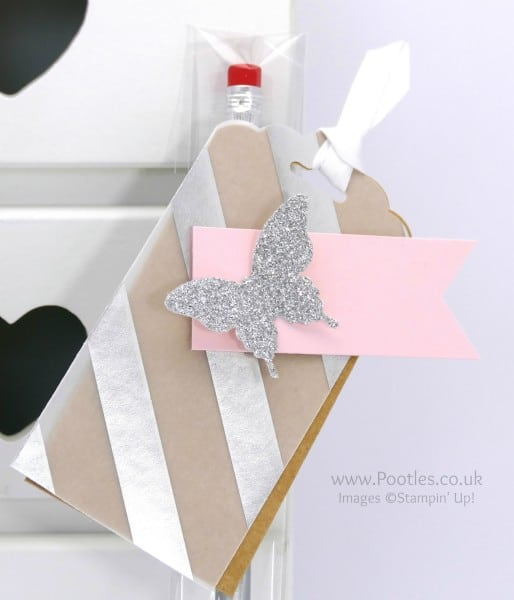 Stampin' Up! Demonstrator Pootles - Stampin' Up Customer Thank You Wrapped Pencils Tag Detail