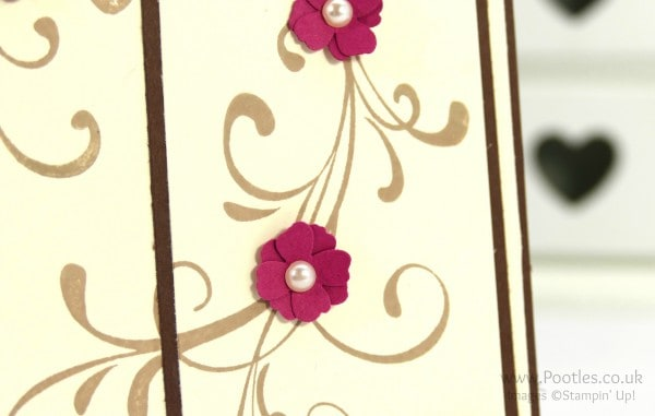 Stampin' Up! Demonstrator Pootles - Everything Eleanor with Rose Red and Chocolate Chip Flower Detail