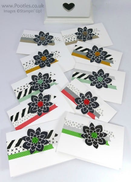 Stampin' Up! Demonstrator Pootles - Washi Tape Customer Thank You Cards all colours