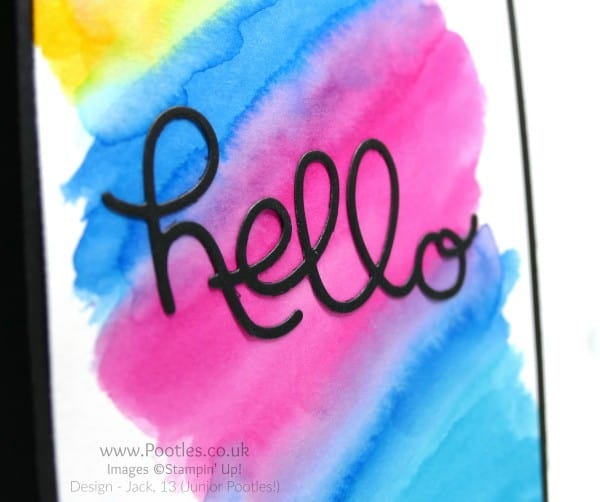 Stampin' Up! Demonstrator Pootles - Watercoloured Card - Neo Chrome Inspired! Close UP