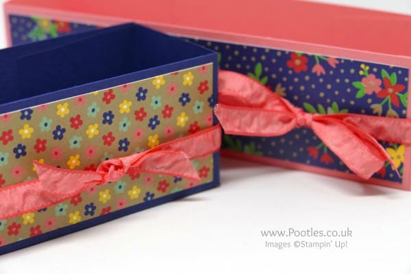 Pootles' Way Back Wednesday Slender Storage Box Flirty Flamingo Bow